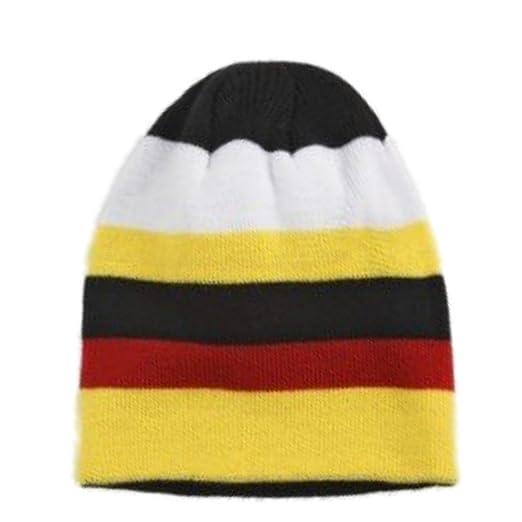 5a1f25df9e6 Amazon.com  Aquarius Boys Colorful Knit Stripes Beanie Yellow Red ...
