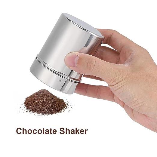 Coctelera de chocolate de acero inoxidable Glaseado de azúcar Polvo de cacao Harina de café Tamiz de dragado Sazonador Herramientas de cocina Chocolate y ...