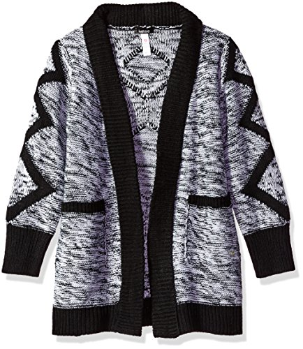 kensie Little Girls' Cardigan Sweater (More Styles Available), Black/White, 6X by kensie