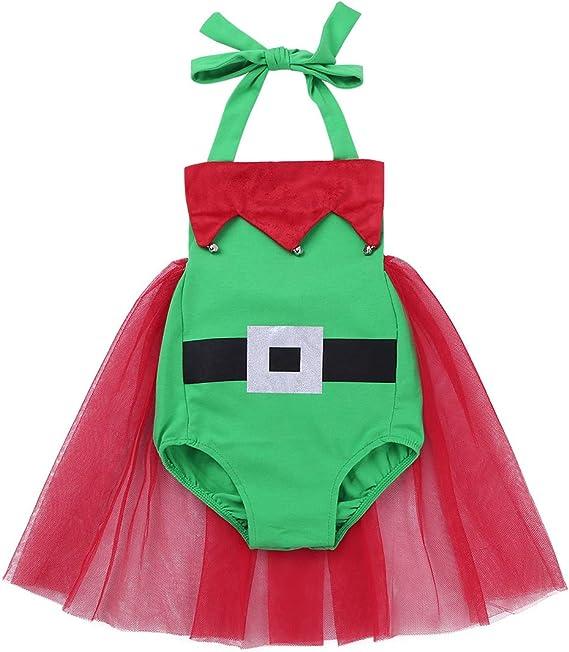 inhzoy Vestido de Princesa Navidad para Bebé Niña Mameluco Cuello ...