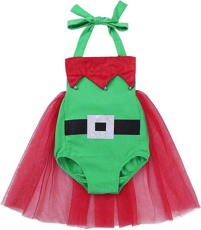 YiZYiF Vestido Navidad Duende Bebés Niñas Disfraz Elfo Vestido ...