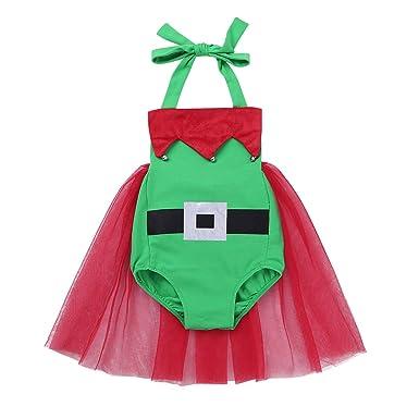 eb55dbe4c Amazon.com  dPois Baby Boys Girls  Christmas Elf Costume Halter Neck ...