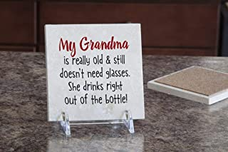 product image for Imagine Design Relatively Funny Family I My Grandma, Travertine Coaster, Red/Black/White