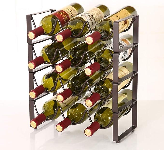Estante del metal del almacenaje del vino vino, botellas retornables organizador del sostenedor del doble del diseño de la onda estante del vino simple para encimera Gabinete Almacén, cromo,Two: Amazon.es: Hogar