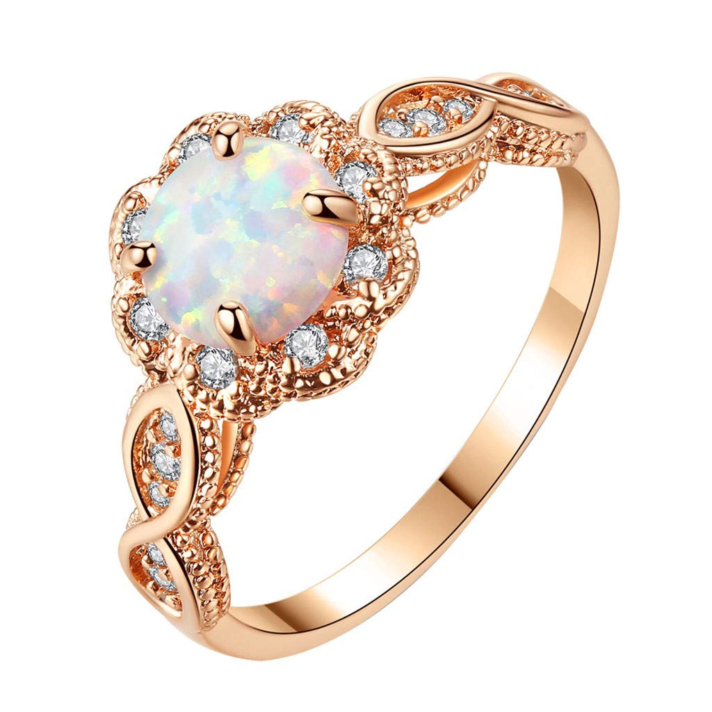 Booboda R482 Simple Opal Ring, Personality Couple Jewelry Opal Jewelry Ring, Pure Metal Women Ring(Rose Gold6#)