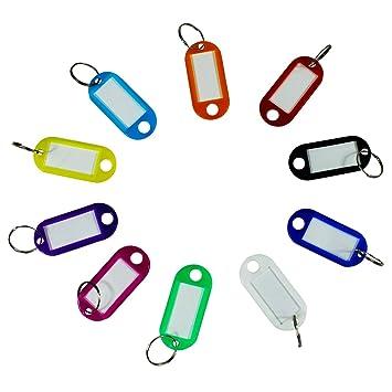 Dokpav 40 x Llavero de Plastico con Etiquetas para ID Nombre ...