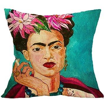 CQ Funda De Cojín Ropa De Algodón Pintor Mexicano Frida·Caro ...