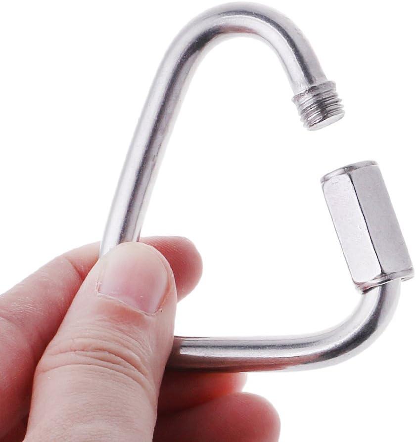 6# ruiruiNIE 304 Stainless Steel Screw Lock Triangle Carabiner Climbing Gear Safety Snap Hook