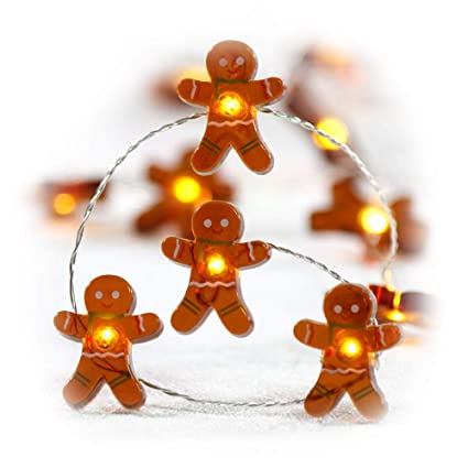 impress life christmas festivel string lights gingerbread cookies man 10 ft copper wire 40 leds