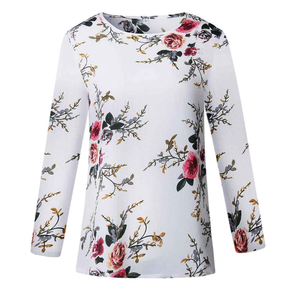 Hmlai Clearance Women T Shirts Casual Long Sleeve Round Neck Floral Printed Lightweight Fashion Pullover Tunic Tops Blouses