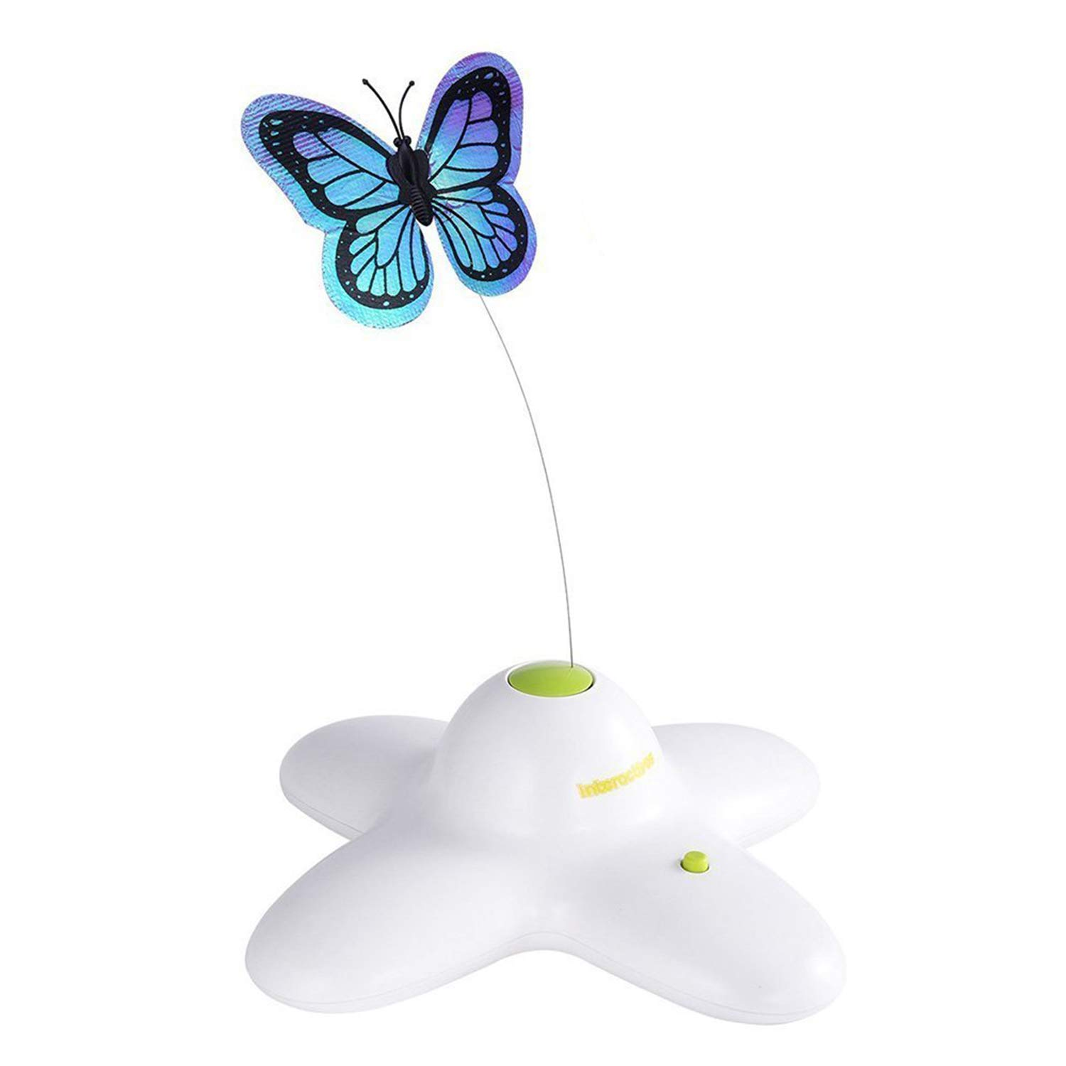 Cat Toys - Spinning Teaser Toy Rotating Shiny Butterfly With Two Replacement Flashing Butterflies Cat - Wand Glove Door Move Prime Jump Pointer Exercise Fish Item Battery Glass Plastic Di