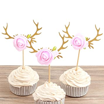 astra gourmet 10pcs reindeer antlers flowers cupcake toppers cakee picks christmas baby shower birthday party decor - Christmas Themed Baby Shower
