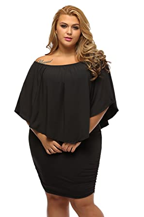 231e8c8f811 Gloria Sarah Women s Sexy Off Shoulder Ruffles Multiple Dressing Layered Plus  Size Mini Dress