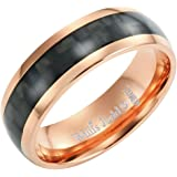 Willis Judd Mens 7mm Two Tone Rose Titanium Ring with Black Carbon Fibre Gift Boxed