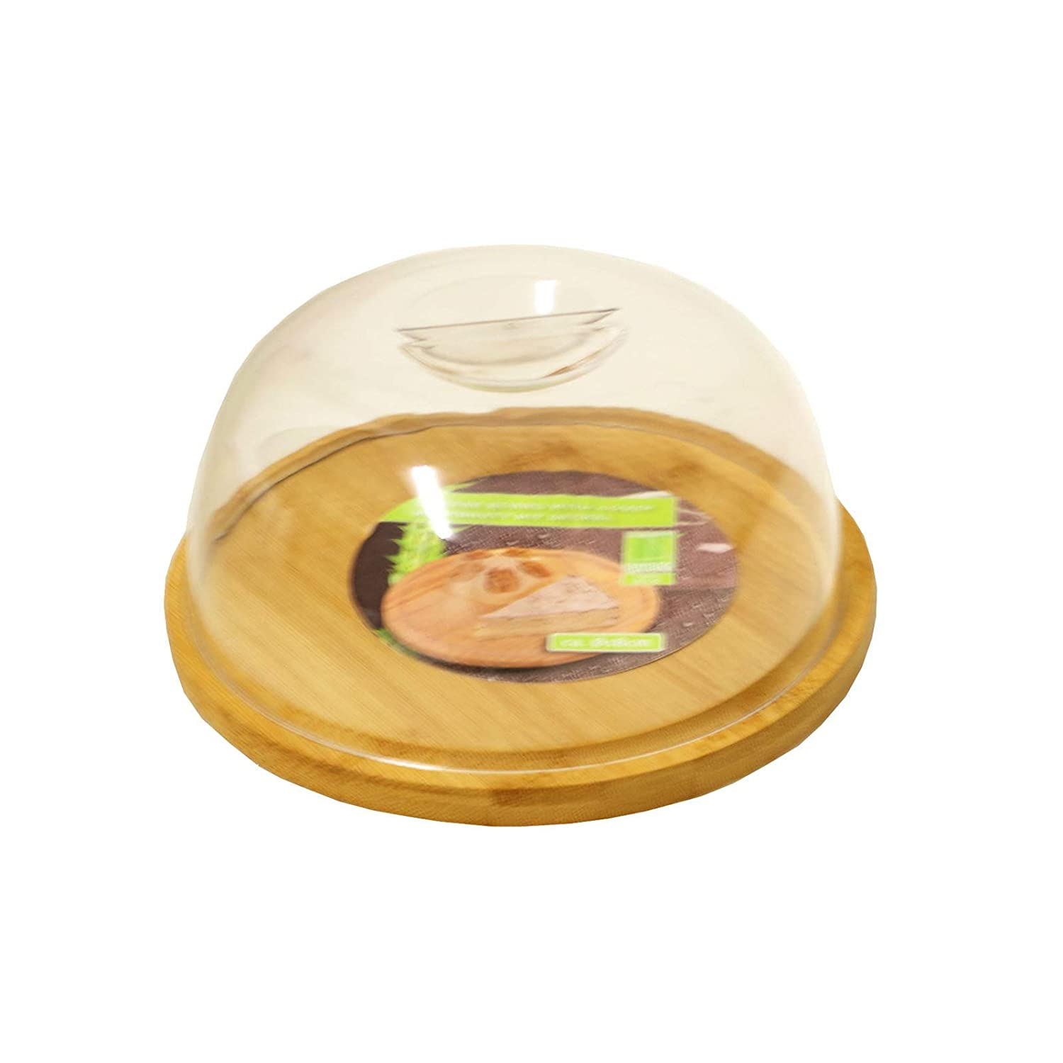 Round Bamboo Cheese Board with Plastic Cover For Keeping and Serving   B00JUP8S4Q