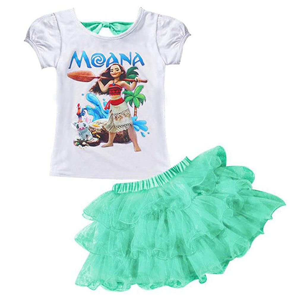 AOVCLKID Moana Little Girls 2Pcs Suit Cartoon Shirt and Skirt Set