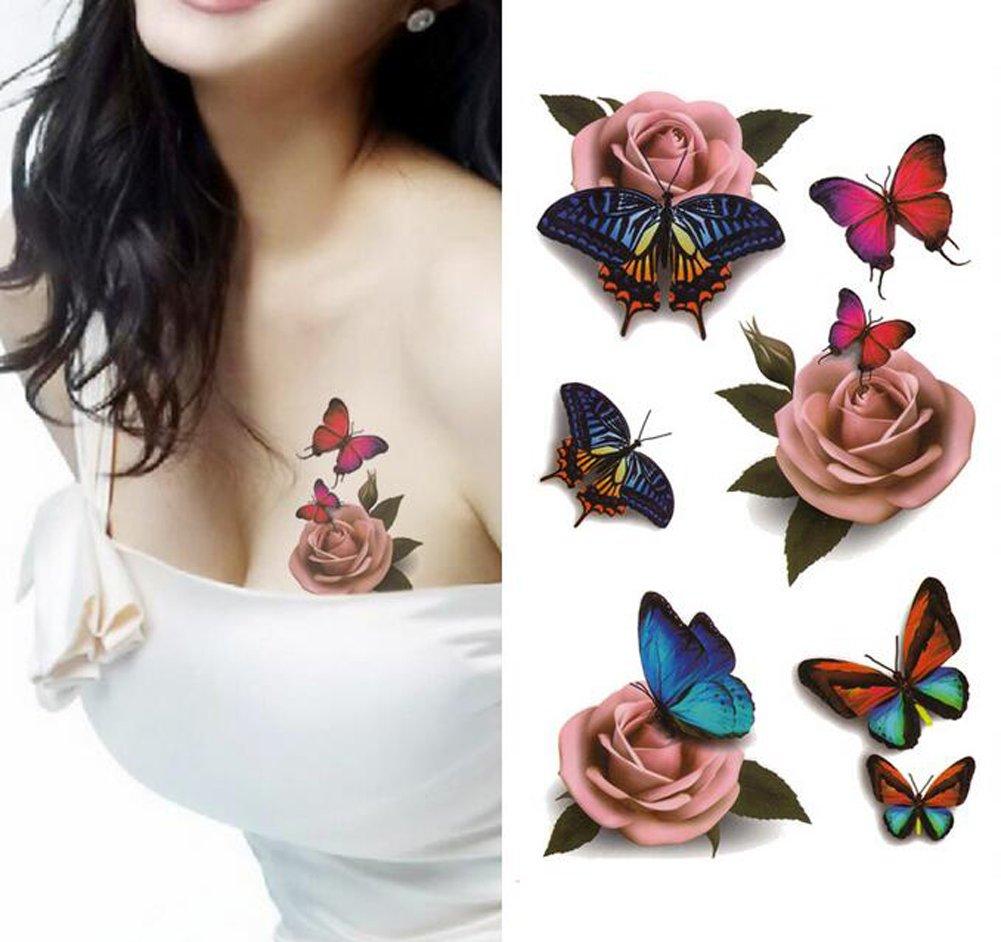 Amazon.com : Temporary 3D Butterfly Flower Rose Tattoo Sticker Decal ...