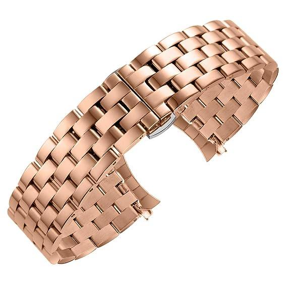 Reemplazo Pulido de la Correa de la Pulsera del Reloj Pulido del Acero Inoxidable de Lujo con Correa de Mariposa para Hombres Mujer Oro Rosa 16mm: ...