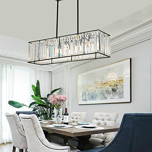 85CM 22 cm 4 Lights Modern Industrial Rectangular Raindrop k9 Crystal Chandelier Height Adjustable 40CM-80CM Ceiling Light Dining Room Chandelier Crystal Pendant 110V E12 Black Black 1