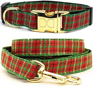 "product image for Diva-Dog 'Alpine Plaid' Custom Small Dog 5/8"" Wide Dog Collar with Plain or Engraved Buckle, Matching Leash Available - Teacup, XS/S"