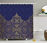 Royal Blue Shower Curtain by Lunarable, Middle Eastern Ornamental Symbolic Ottoman Moroccan Cultural Filigree Pattern, Fabric Bathroom Decor Set with Hooks, 70 Inches, Gold Indigo