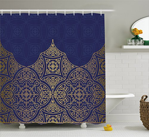 Indigo Shower Curtain by Lunarable, Middle Eastern Style Ornament Ottoman Moroccan Cultures Inspired Filigree Pattern, Fabric Bathroom Decor Set with Hooks, 70 Inches, Gold - Indigo And Gold