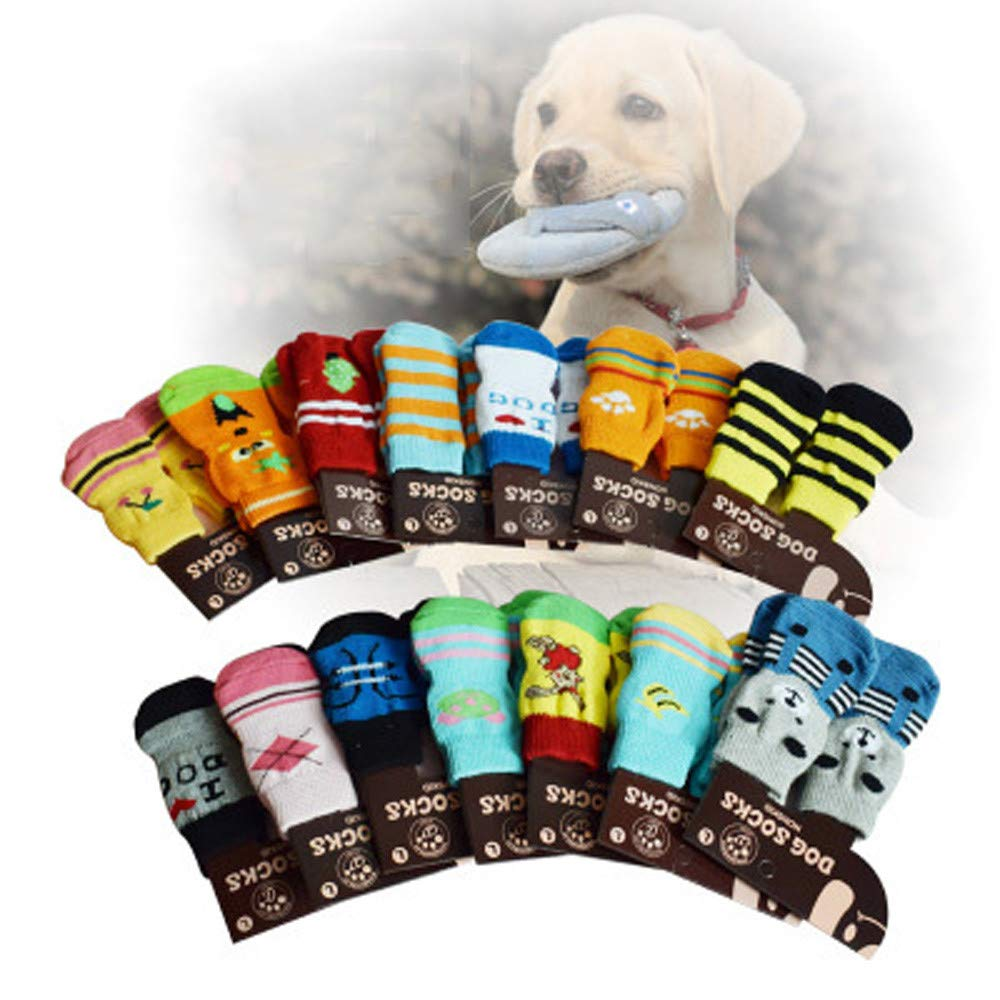 Glumes Anti-Slip Knit Dog Socks&Cat Socks with Rubber Reinforcement, Anti-Slip Knit Dog Paw Protector&Cat Paw Protector for Indoor Wear, Suitable for Small&Medium&Large Dogs&Cats