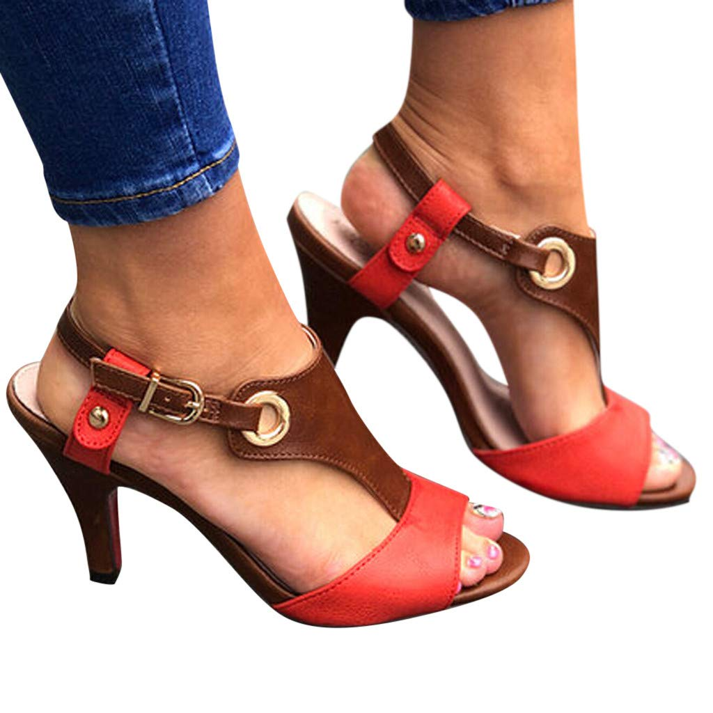 Women's Open-Toe Sandals Ankle Buckle Hollow Out Sandals High Heel Sandals Shoes Thong Comfort Beach Sandals (Red, 9 M US)