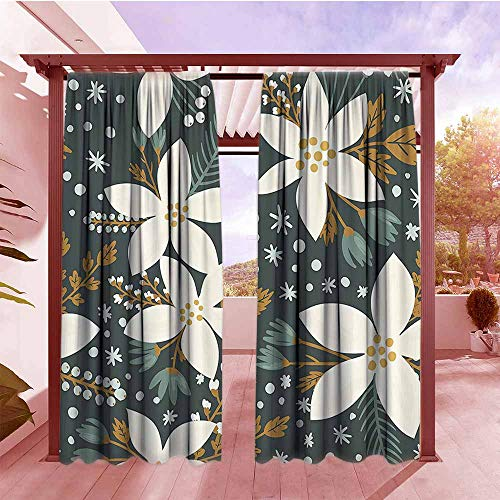 Exterior/Outside Curtains Floral Hand Drawn Poinsettia Flowers Garden Blossoms Hawaiian Inspired Art Print Hang with Rod Pocket/Clips W120x84L White and Caramel ()