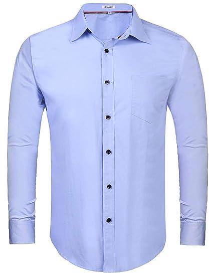iClosam Camisa Casual Hombre Manga Larga Slim Fit para Traje ...