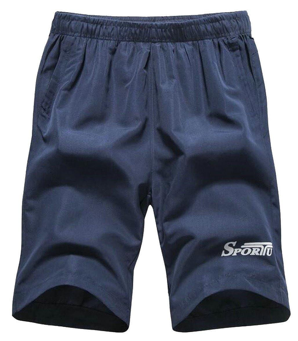 yibiyuan Men Active Fast Dry Beach Wear Pockets Elastic Drawstring Boxers