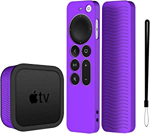 YIPINJIA Compatible for 2021 Apple TV 4K Siri Remote Cover,[2 in 1] with Silicone Protective TV Box Case for 2021 Apple TV 4K, Skin-Friendly/Anti-Slip/Shockproof (Purple)