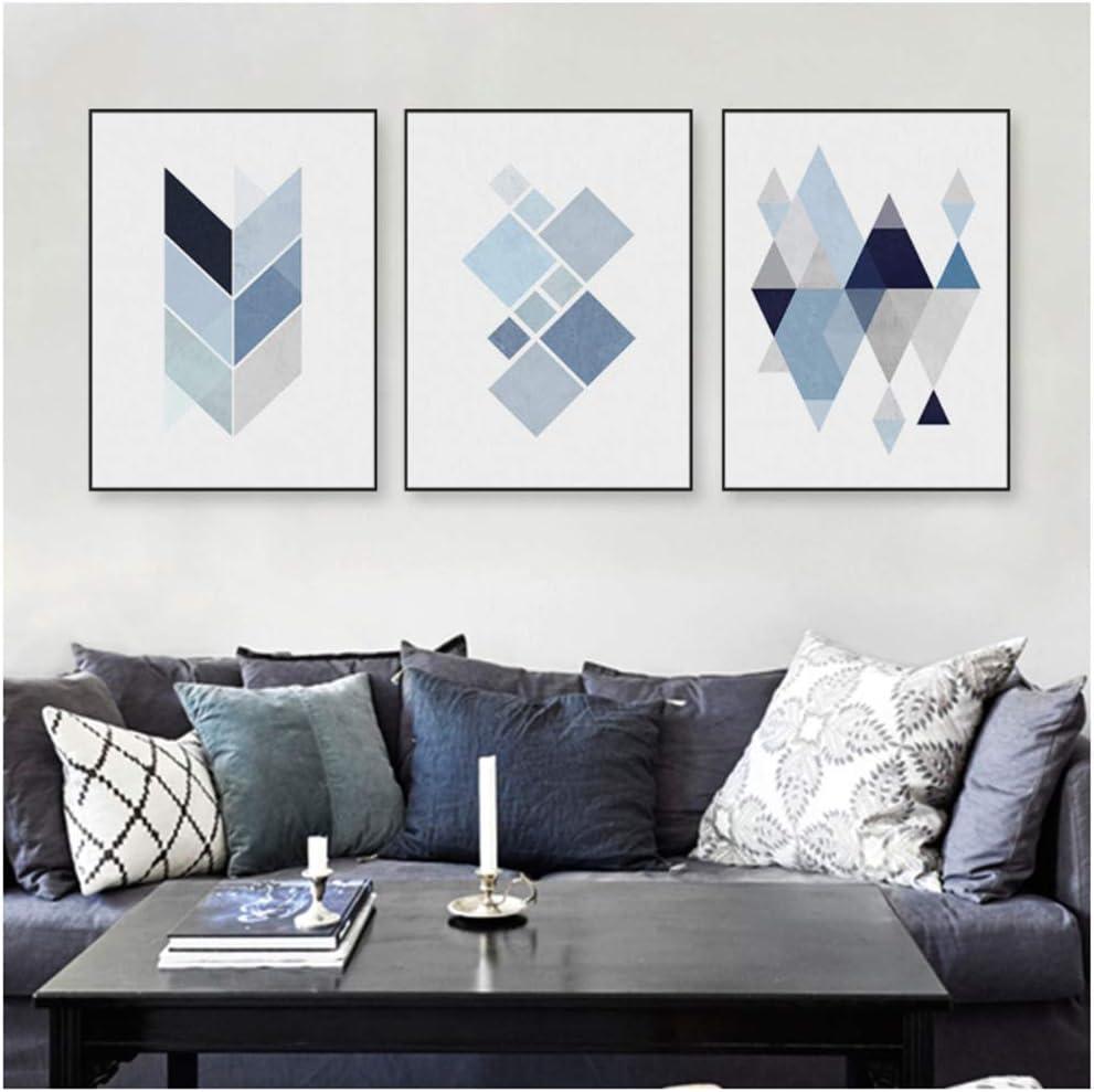 HSFFBHFBH Leinwand Abstrakte Blaue Geometrische Form Kunst Vintage Print Poster Hipster Wandkunst Bild Nordic Wohnkultur Malerei 40x50 cm Kein Rahmen