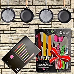 Kitchen Knife Set Plus Magnetic Strip and Sharpener by Chefcoo All-in-One Cutlery Knives - Best Color Cooking Gadgets - Includes Cheese, Pizza, Paring, Utility, Slicer, Bread and Chef Knives