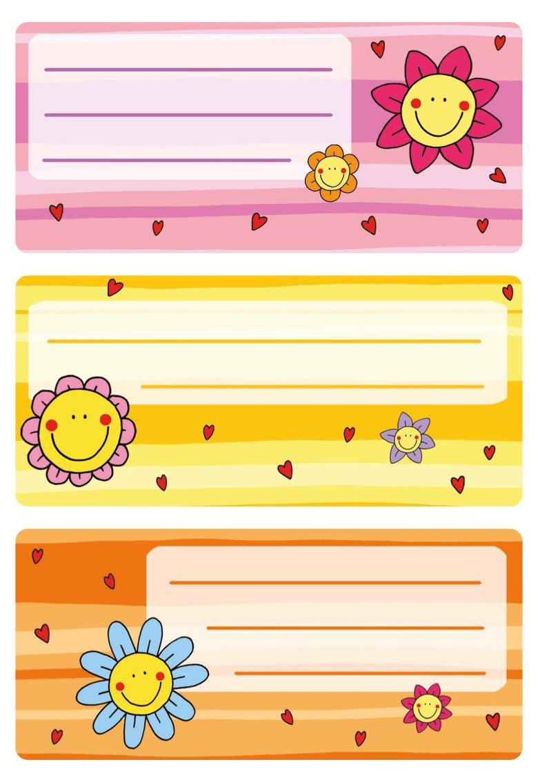 HERMA 5593Etichette Nome Quaderno per la scuola, motivo fiore grafica, formato 7,6x 3,5cm, contenuto confezione: 9Etichette