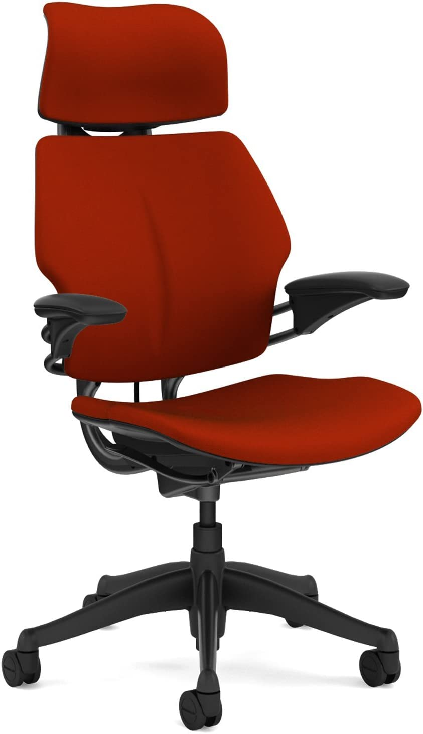Humanscale Freedom Office Desk Chair with Headrest - Standard Height Adjustable Duron Arms - Graphite Frame Red Fabric - Soft Hard Floor Casters