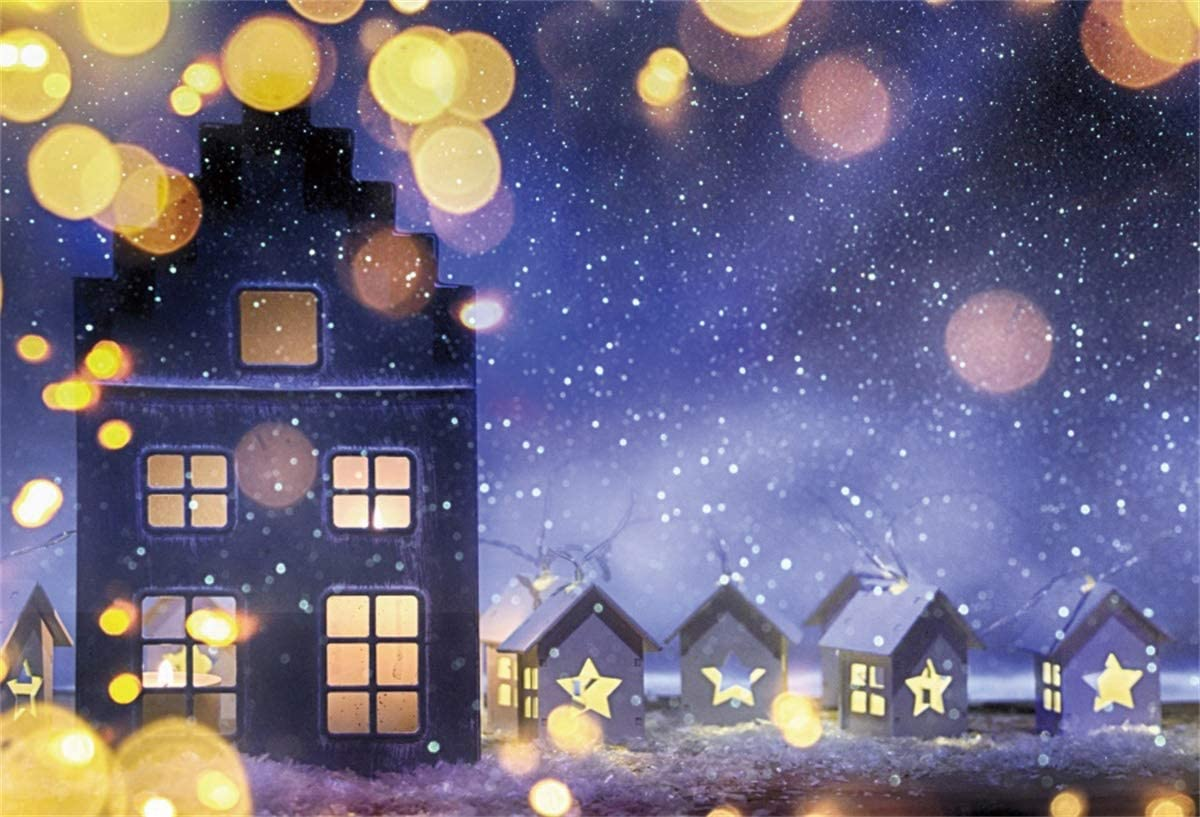 Yeele Christmas Photography Backdrop 5x3ft Christmas Village Under Purple Night Sky Background Xmas Party Decor Kids Adults Portrait Photo Booth Photoshoot Props Wallpaper