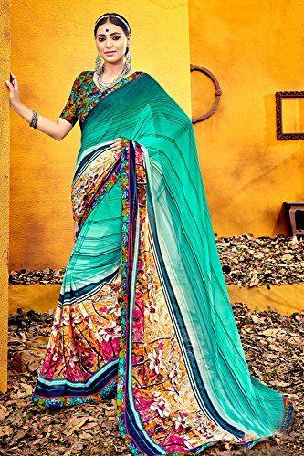 Party Facioun Blue Da Wedding Sarees Sari Women Indian Traditional Designer for 11 Wear 0wqP4dRw