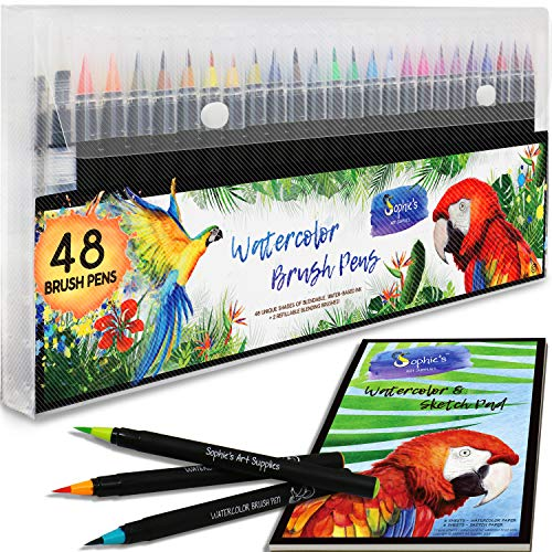Premium Watercolor Real Brush Pens by Sophies Art Supplies [48 Pack]. Vibrant Water Soluble Ink. Flexible Brush Tips for Watercolor Effects, Coloring and Calligraphy. Free Blending Brush + Pad!