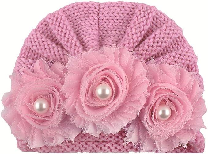 Baby-M/ädchen M/ütze Strickm/ütz Winter Warm H/üte Beanie Neugeborenes Gestrickter Turban Blume Hut-Winter-Warme Beanie Headwear-Kappe Schnee Hut