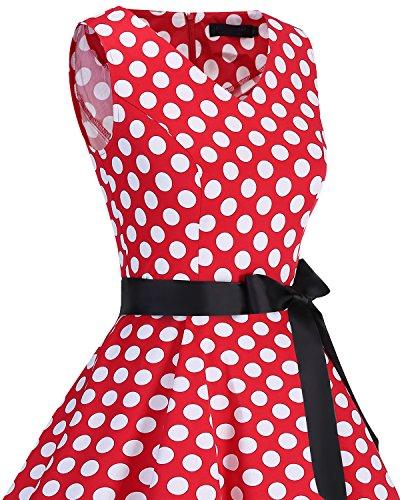 Années White Cocktail V Style Audrey Soirée Rockabilly Red De Dot Rétro Sans En Hepburn Swing Col Manche Bridesmay 50 Vintage Robe qYgqpA