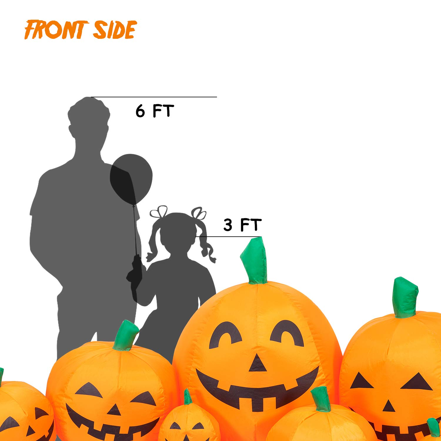 Blow up Party Decor for Indoor Outdoor Yard with LED Lights YIHONG 8 Ft Long Halloween Inflatables Pumpkin Patch Decorations