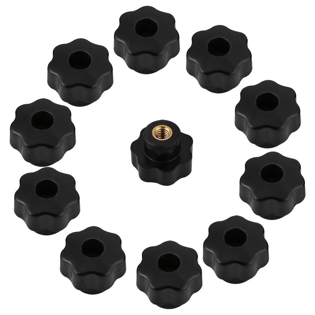 25 para M/áquina Herramienta 10 Unids Universal Negro De Pl/ástico Forma de Estrella Cabeza de Sujeci/ón Tuercas Perilla Torno Perilla Manija M6