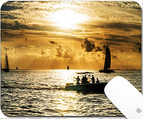 Luxlady Natural Rubber Gaming Mousepads Sailboat and disherman in the sea at sunset Key west bay Floride USA 9.25in X 7.25in IMAGE: 25812067 - Key West Sailboat