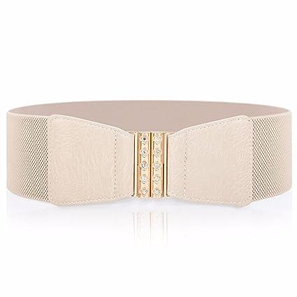 ZHANGYONG con Incrustaciones De Diamantes Moda Mujer Ancho Cinturón Elástico  En La Cintura Vestido Blanco Cinturón f52454f0c948