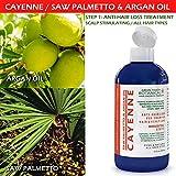 Hair Growth Botanical STEP 1 & 2: Organic Anti Hair Loss Scalp Treatment (8 Fl Oz) and Organic Hair Loss Shampoo Cayenne /Saw Palmetto & Argan Oil For Hair & Scalp