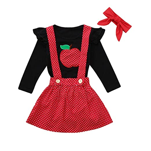 881cfb826389 MILWAY Baby Girl Clothes Princess Frilled Apple Embroidered Top + Strap Dot  Skirt + Headband Three