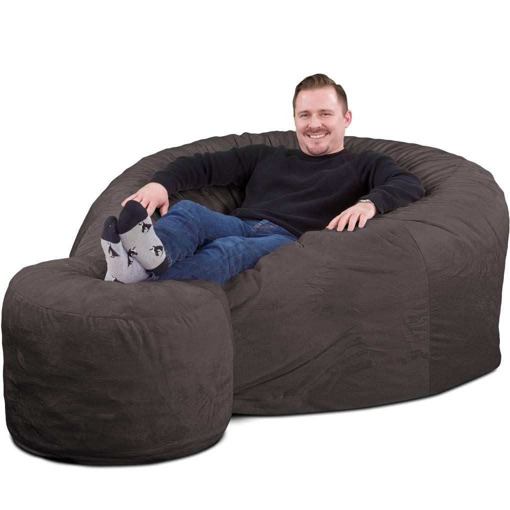 ULTIMATE SACK Bean Bag Chair w Foot Stool in Multiple Sizes and Colors Giant Foam-Filled Furniture – Machine Washable Covers, Double Stitched Seams, Durable Inner Liner. Grey Suede, 5000