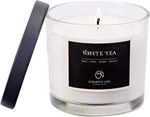 Chloefu LAN White Tea Scented Soy Jar Candle Long Lasting & Slow Burning(7 Oz, 45h) with Transparent Glass and Black Cover (White Tea)