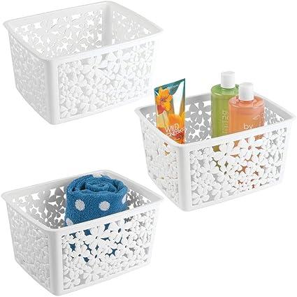Mdesign Badezimmer Aufbewahrungsbehalter Gross Blumenmuster 3er Pack Pack Of 3 Weiss Amazon De Kuche Haushalt